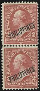 Sale Number 878, Lot Number 633, Cuba, Guam, Philippines1899, 2c Orange Red, Ty. III, Double Ovpt., One Albino (214 var), 1899, 2c Orange Red, Ty. III, Double Ovpt., One Albino (214 var)