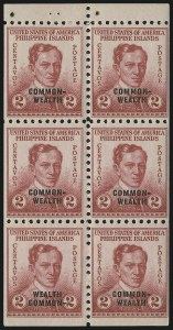"Sale Number 878, Lot Number 636, Cuba, Guam, Philippines1939, 2c Rose, Booklet Pane of Six, Bottom Left Stamp ""Wealth Common-"" (433b), 1939, 2c Rose, Booklet Pane of Six, Bottom Left Stamp ""Wealth Common-"" (433b)"