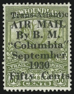 Sale Number 878, Lot Number 643, Foreign CountriesNEWFOUNDLAND, 1930, 50c on 36c Olive Green, Columbia Air Post (C5; SG 191), NEWFOUNDLAND, 1930, 50c on 36c Olive Green, Columbia Air Post (C5; SG 191)