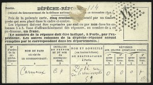Sale Number 878, Lot Number 650, Foreign CountriesPigeon Dispatch Reply Card, Pigeon Dispatch Reply Card
