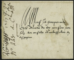 Sale Number 885, Lot Number 2044, Royal Mail and Documents1567, Letter from Catherine de Medici to Baron de Fourquevaux, 1567, Letter from Catherine de Medici to Baron de Fourquevaux