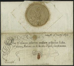 Sale Number 885, Lot Number 2047, Royal Mail and Documents1693, Leopold I, Holy Roman Emperor, to Franz Antoni de Albertis, 1693, Leopold I, Holy Roman Emperor, to Franz Antoni de Albertis