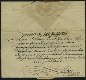 Sale Number 885, Lot Number 2049, Royal Mail and Documents1721, Official Letter with Seal of King George I, 1721, Official Letter with Seal of King George I