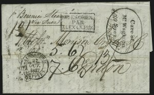 Sale Number 885, Lot Number 2069, Pre-Stamp Postal Markings by CountryINDIA, 1837, Waghorn's Overland Route, INDIA, 1837, Waghorn's Overland Route