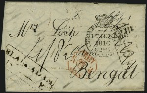 Sale Number 885, Lot Number 2070, Pre-Stamp Postal Markings by CountryINDIA, 1816, King's Post Handstamp on British Packet Letter to Bengal, INDIA, 1816, King's Post Handstamp on British Packet Letter to Bengal