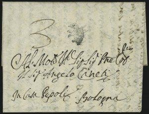 Sale Number 885, Lot Number 2071, Pre-Stamp Postal Markings by CountryITALY, 1769, Horse Handstamp of Bologna, ITALY, 1769, Horse Handstamp of Bologna
