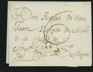 "Sale Number 885, Lot Number 2083, Pre-Stamp Postal Markings by Country1830, ""SAN SALVADOR"" in Shield, 1830, ""SAN SALVADOR"" in Shield"