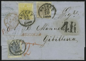 Sale Number 885, Lot Number 2102, Stamped Mail by CountryAUSTRIA, 1850, 1kr Yellow, 6kr Brown & 9kr Blue (1, 4, 5), AUSTRIA, 1850, 1kr Yellow, 6kr Brown & 9kr Blue (1, 4, 5)