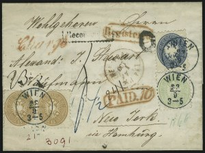 Sale Number 885, Lot Number 2103, Stamped Mail by CountryAUSTRIA, 1863-64, 3kr-15kr Arms (23, 25, 26), AUSTRIA, 1863-64, 3kr-15kr Arms (23, 25, 26)