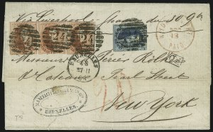 Sale Number 885, Lot Number 2106, Stamped Mail by CountryBELGIUM, 1851-54, 20c Blue, 40c Carmine Rose (7, 8), BELGIUM, 1851-54, 20c Blue, 40c Carmine Rose (7, 8)