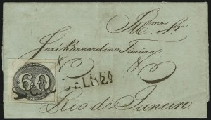 Sale Number 885, Lot Number 2107, Stamped Mail by CountryBRAZIL, 1843, 60r Black, Intermediate Printing (2a), BRAZIL, 1843, 60r Black, Intermediate Printing (2a)