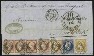 Sale Number 885, Lot Number 2113, Stamped Mail by Country1853-60, 10c-80c Napoleon (14, 15, 18, 19), 1853-60, 10c-80c Napoleon (14, 15, 18, 19)