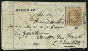 "Sale Number 885, Lot Number 2121, Stamped Mail by Country1870, ""General Ulrich"" Ballon Monte Cover, 1870, ""General Ulrich"" Ballon Monte Cover"