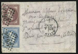 "Sale Number 885, Lot Number 2122, Stamped Mail by Country1870, ""Boules De Moulins"" Cover, 1870, ""Boules De Moulins"" Cover"