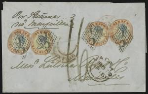 Sale Number 885, Lot Number 2126, Stamped Mail by Country1854, 4a Red & Blue (6), 1854, 4a Red & Blue (6)