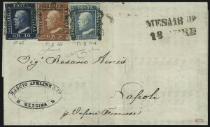 Sale Number 885, Lot Number 2131, Stamped Mail by CountrySICILY, 1859, 2g Blue, Plate 2, 5g Carmine, Plate 1, 10g Dark Blue (13, 14, 16; Sassone 4, 9, 13), SICILY, 1859, 2g Blue, Plate 2, 5g Carmine, Plate 1, 10g Dark Blue (13, 14, 16; Sassone 4, 9, 13)