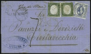 Sale Number 885, Lot Number 2133, Stamped Mail by CountrySARDINIA, 1862, 5c Green (10), SARDINIA, 1862, 5c Green (10)