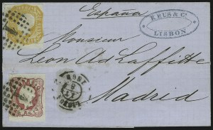 Sale Number 885, Lot Number 2146, Stamped Mail by CountryPORTUGAL, 1862, 10r Orange (13), PORTUGAL, 1862, 10r Orange (13)