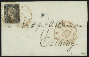 Sale Number 885, Lot Number 2157, Stamped Mail by CountrySPAIN, 1850, 6c Black, Thick Paper (1b), SPAIN, 1850, 6c Black, Thick Paper (1b)
