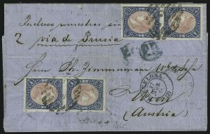 Sale Number 885, Lot Number 2158, Stamped Mail by CountrySPAIN, 1865, 12c Blue & Rose, Imperforate (69), SPAIN, 1865, 12c Blue & Rose, Imperforate (69)