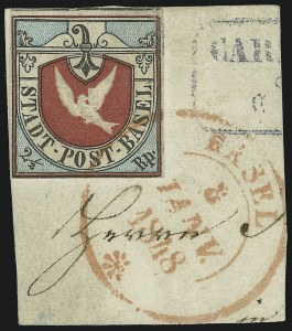 Sale Number 885, Lot Number 2160, Stamped Mail by CountryBASEL, 1845, 2-1/2r Basel Dove (3L1; Zumstein 8a), BASEL, 1845, 2-1/2r Basel Dove (3L1; Zumstein 8a)