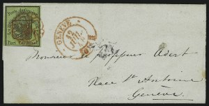 Sale Number 885, Lot Number 2162, Stamped Mail by CountryGENEVA, 1847, 5c Black on Yellow Green, Large Eagle (2L3; Zumstein 6), GENEVA, 1847, 5c Black on Yellow Green, Large Eagle (2L3; Zumstein 6)