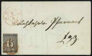Sale Number 885, Lot Number 2163, Stamped Mail by CountryZURICH, 1846, 6r Black, Horizontal Lines (1L4; Zumstein 2W), ZURICH, 1846, 6r Black, Horizontal Lines (1L4; Zumstein 2W)