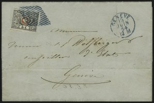 Sale Number 885, Lot Number 2164, Stamped Mail by CountryGENEVA, 1850, 5c Black & Red, Vaud (2L6; Zumstein 10), GENEVA, 1850, 5c Black & Red, Vaud (2L6; Zumstein 10)