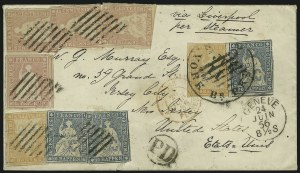 Sale Number 885, Lot Number 2165, Stamped Mail by CountrySWITZERLAND, 1854, 10r Blue, 15r Rose, 20r Pale Orange (21-23), SWITZERLAND, 1854, 10r Blue, 15r Rose, 20r Pale Orange (21-23)