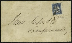 Sale Number 885, Lot Number 2166, Stamped Mail by CountryTRINIDAD, 1847, (5c) Blue, Lady McLeod (SG 1), TRINIDAD, 1847, (5c) Blue, Lady McLeod (SG 1)