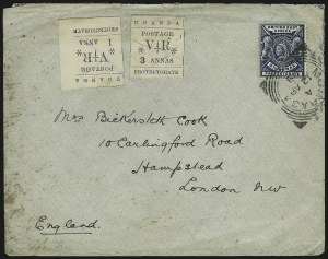 Sale Number 885, Lot Number 2169, Stamped Mail by CountryUGANDA, 1896, 1a Black, 3a Black, White Paper, Without Overprint (61, 64), UGANDA, 1896, 1a Black, 3a Black, White Paper, Without Overprint (61, 64)
