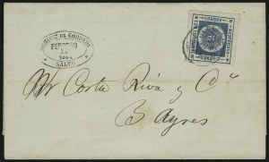 Sale Number 885, Lot Number 2170, Stamped Mail by CountryURUGUAY, 1859, 120c Blue, Thin Numerals (10), URUGUAY, 1859, 120c Blue, Thin Numerals (10)