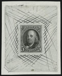 Sale Number 886, Lot Number 3031, 1847 Issue5c Black, 1847 Issue, Large Die Trial Color Proof on India (1TC1), 5c Black, 1847 Issue, Large Die Trial Color Proof on India (1TC1)