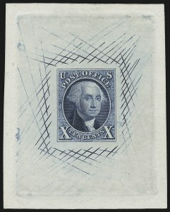 Sale Number 886, Lot Number 3032, 1847 Issue10c Blue, 1847 Issue, Large Die Trial Color Proof on India (2TC1), 10c Blue, 1847 Issue, Large Die Trial Color Proof on India (2TC1)