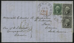Sale Number 886, Lot Number 3070, 1857-60 Issue10c Green, Ty. III, 12c Black (33, 36), 10c Green, Ty. III, 12c Black (33, 36)