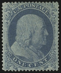 Sale Number 889, Lot Number 1104, 1857-60 Issue1c Blue, Ty. I (18), 1c Blue, Ty. I (18)