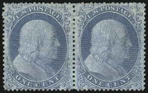 Sale Number 889, Lot Number 1105, 1857-60 Issue1c Blue, Ty. I (18), 1c Blue, Ty. I (18)