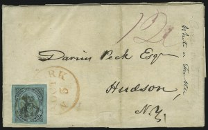 Sale Number 889, Lot Number 2043, Carriers and LocalsU.S. City Despatch Post, New York N.Y., 3c Black on Blue Green Glazed (6LB5), U.S. City Despatch Post, New York N.Y., 3c Black on Blue Green Glazed (6LB5)
