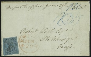 Sale Number 889, Lot Number 2044, Carriers and LocalsU.S. City Despatch Post, New York N.Y., 3c Black on Blue Green Glazed (6LB5), U.S. City Despatch Post, New York N.Y., 3c Black on Blue Green Glazed (6LB5)