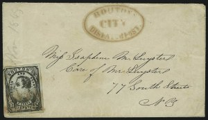 Sale Number 889, Lot Number 2051, Carriers and LocalsBouton's City Dispatch Post, New York N.Y., 2c Black on Gray Blue, Dots in Corners (18L2), Bouton's City Dispatch Post, New York N.Y., 2c Black on Gray Blue, Dots in Corners (18L2)