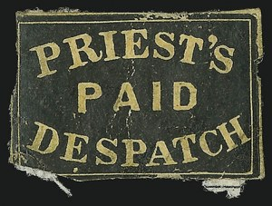 Sale Number 889, Lot Number 2068, Carriers and LocalsPriest's Despatch, Philadelphia Pa., (2c) Black on Yellow Wove (121L3), Priest's Despatch, Philadelphia Pa., (2c) Black on Yellow Wove (121L3)