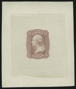Sale Number 890, Lot Number 138, 1861 Issue 3c Pink, First Design, Die Essay on India (65-E15c; formerly 56TC1), 3c Pink, First Design, Die Essay on India (65-E15c; formerly 56TC1)