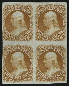 Sale Number 890, Lot Number 160, 1861 Issue 30c Deep Red Orange, First Design, Plate Essay on India (71-E2b; formerly 61P3), 30c Deep Red Orange, First Design, Plate Essay on India (71-E2b; formerly 61P3)