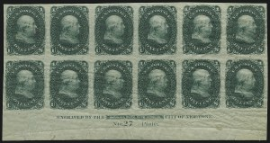 Sale Number 890, Lot Number 169, 1861 Issue 1c Green, Lowenberg Patent, Trial Color Plate Proof on Surface Starched Paper, Imperforate (63TC5), 1c Green, Lowenberg Patent, Trial Color Plate Proof on Surface Starched Paper, Imperforate (63TC5)