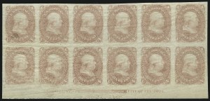 Sale Number 890, Lot Number 170, 1861 Issue 1c Rose Pink, Lowenberg Patent, Trial Color Plate Proof on Surface Starched Paper, Imperforate (63TC5), 1c Rose Pink, Lowenberg Patent, Trial Color Plate Proof on Surface Starched Paper, Imperforate (63TC5)