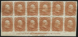 Sale Number 890, Lot Number 171, 1861 Issue 1c Bright Orange, Lowenberg Patent, Trial Color Plate Proof on Surface Starched Paper, Imperforate (63TC5), 1c Bright Orange, Lowenberg Patent, Trial Color Plate Proof on Surface Starched Paper, Imperforate (63TC5)