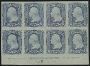 Sale Number 890, Lot Number 174, 1861 Issue 3c Pale Blue, Trial Color Plate Proof on Stamp Paper (65TC5), 3c Pale Blue, Trial Color Plate Proof on Stamp Paper (65TC5)