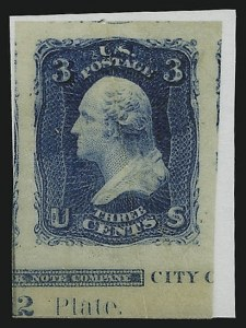 Sale Number 890, Lot Number 175, 1861 Issue 3c Blue, Lowenberg Decalcomania, Plate Proof (65TC), 3c Blue, Lowenberg Decalcomania, Plate Proof (65TC)