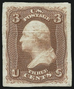 Sale Number 890, Lot Number 181, 1861 Issue 3c Rose, Imperforate, Plate Proof on Experimental Ribbed Paper (65TC var), 3c Rose, Imperforate, Plate Proof on Experimental Ribbed Paper (65TC var)
