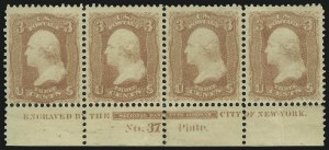 Sale Number 890, Lot Number 183, 1861 Issue 3c Rose, Trial Color Plate Proof , Gummed and Perforated (65TC), 3c Rose, Trial Color Plate Proof , Gummed and Perforated (65TC)